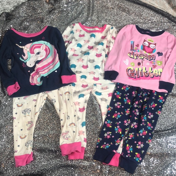 3 girls 2t pajama sets
